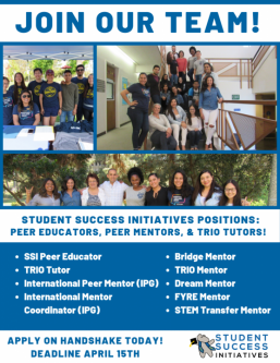 Join the Student Success Initiative team. Apply thourgh Handshake